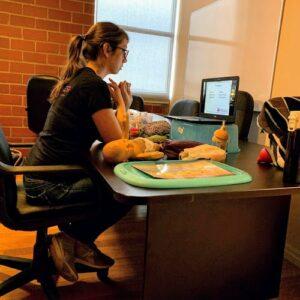 Maggie teaching an online prenatal class